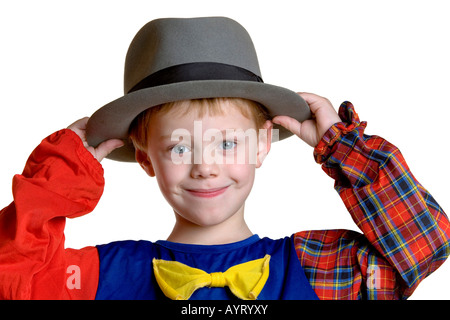 Four-year-old boy dressed up as a clown - Stock Photo