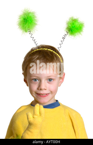 Four-year-old boy wearing insect costume - Stock Photo