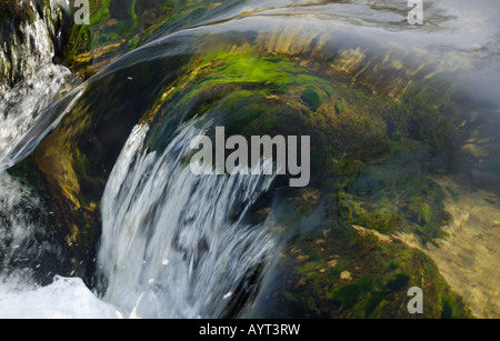Clear mountain stream rushing over moss-covered rocks near Fischbachau, Bavaria, Germany - Stock Photo