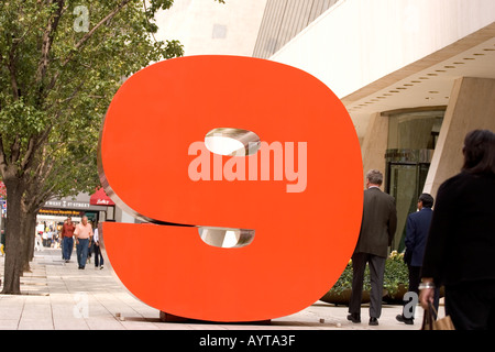 Nine sculpture in front of solow building on 57th street Editorial Use Only - Stock Photo