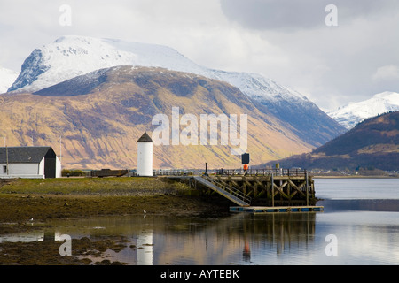 Corpach lighthouse Sea Loch boats & village harbour, canal basin, north shore of Loch Linnhe at the entrance Caledonian - Stock Photo