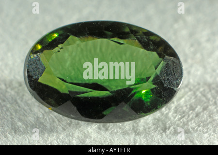 Cut green Tourmaline, studio picture - Stock Photo
