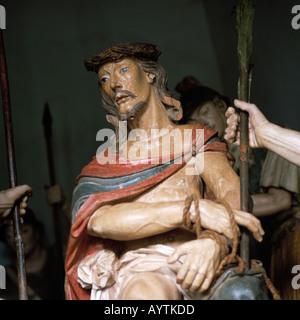 Brazil, Brazil, BR-Congonhas do Campo, Minas Gerais, Bom Jesus de Matozinhos Basilica, wood carving, sculpture, - Stock Photo