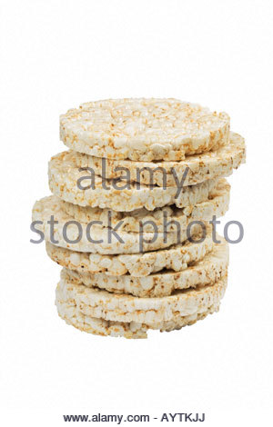 Stack of rice cakes. Rice cakes, food, organic food, low calorie, vegetarian food, vegan food, stack, pile, wholegrain - Stock Photo