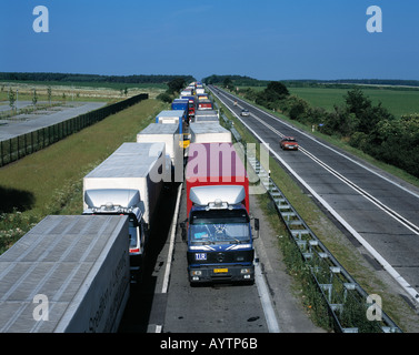 motorway A12, truck traffic jam, border crossing point Germany Poland, D-Frankfurt on the Oder, Brandenburg - Stock Photo