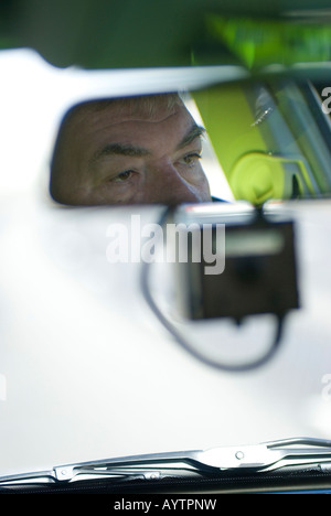 A mirror mounted camera tracks the speed of a lorry on the M1 in Bedfordshire - Stock Photo