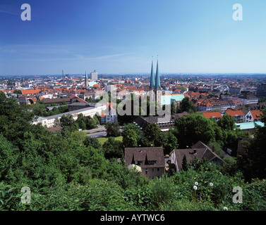 Stadtpanorama mit Nikolaikirche und Marienkirche, Bielefeld, Teutoburger Wald, Nordrhein-Westfalen - Stock Photo