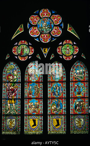 Glasfenster im Freiburger Muenster in Freiburg, Breisgau, Oberrhein, Schwarzwald, Baden-Wuerttemberg - Stock Photo