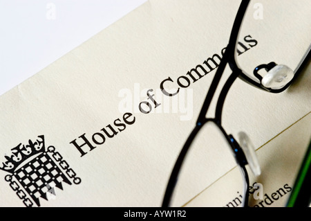 Letter and envelope from a member of Parliament sitting in the House of Commons in the United Kingdom with a pair - Stock Photo