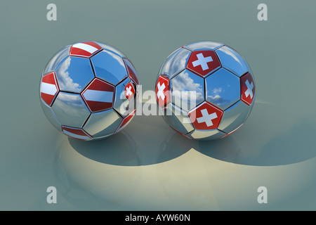 Two chrome balls with flags of Austria and Switzerland 3D rendering with reflections of blue sky with clouds - Stock Photo