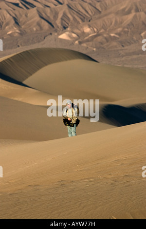 Photographer at Mesquite Flats Stovepipe Wells Sand Dunes Death Valley National Park California