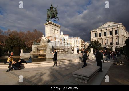 Plaza de Oriente madrid Spain - Stock Photo