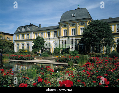 Poppelsdorfer Schloss, Schlosspark, Gartenanlage, Blumenbeete, Rosenbeet, Seerosenteich, Biotop, Bonn, Rhein, Nordrhein - Stock Photo