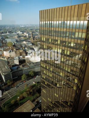 Blick aus dem Rathaus-Hochhaus auf die Stadt, Rathausfassade, Essen, Ruhrgebiet, Nordrhein-Westfalen - Stock Photo