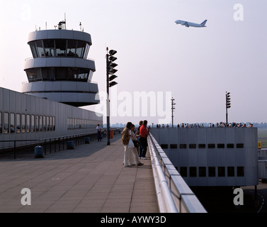 D-Duesseldorf, Rhine, North Rhine-Westphalia, airport, visitor terrace, lookout, vantage point, tourists, control - Stock Photo