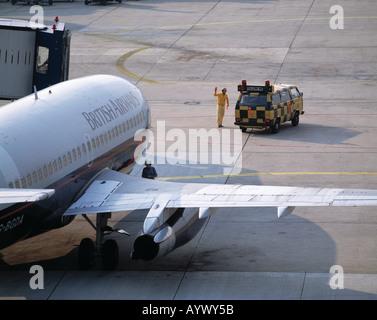 D-Duesseldorf, Rhine, North Rhine-Westphalia, airport, aeroplane will be led to the parking position, marshel, masheller, - Stock Photo