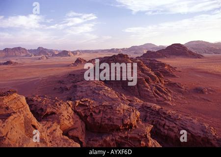 Desert Landscape at sunset Wadi Rum Jordan - Stock Photo