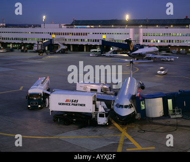 D-Duesseldorf, Rhine, North Rhine-Westphalia, airport, aeroplanes during clearance on terminals, stay, stop, service - Stock Photo