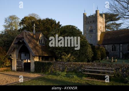 Lychgate entrance to St Mary the Virgin Hambleden rural village parish church - Stock Photo