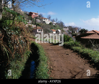 Levada, typischer Bewaesserungskanal fuer die Landwirtschaft auf Madeira - Stock Photo