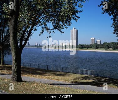 Rheinpromenade mit Fernsehturm und Colonia-Hochhaus, Herbststimmung, Koeln, Rhein, Nordrhein-Westfalen - Stock Photo
