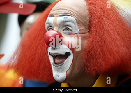 Ron Johnson appears as Toto the clown at the International Clown Festival in Weston Super Mare UK in 2005 - Stock Photo