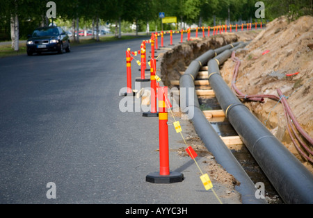 District heating pipeline construction site , Finland