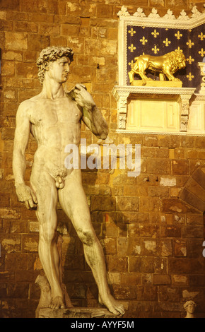 Michelangelo's David statue outside Palazzo Vecchio in Piazza della Signoria Florence Firenze Tuscany Italy - Stock Photo
