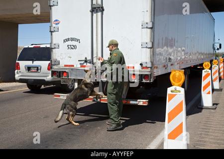 US Border Patrol Checkpoint on Interstate Highway in Arizona - Stock Photo