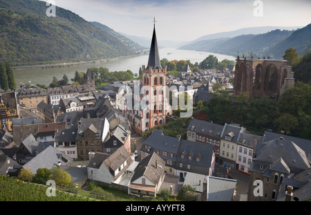 View over the town of Bacharach on the bank of the river Rhine in the German Middle-Rhine Valley - Stock Photo