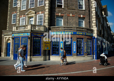 Seaside Fish & Chip Shop, Eastbourne, England which has now been taken over by the 'Harry Ramsden's' chain, 2005, - Stock Photo