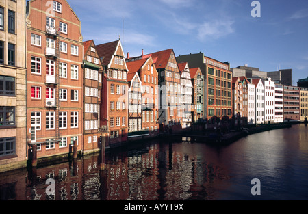 April 13, 2008 - Historic Nikolaifleet in the German city of Hamburg. The port of Hamburg started its development - Stock Photo