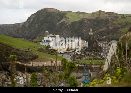 Ilfracombe in North Devon, as seen from the west. View from the Southwest coast path. - Stock Photo