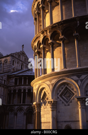 Leaning Tower of Pisa and Duomo in late light Pisa Tuscany Italy - Stock Photo