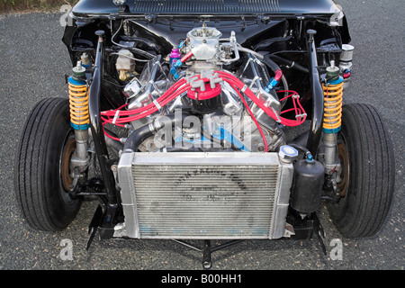 A heavily modified Ford V8 engine as used in a drag racing car - Stock Photo