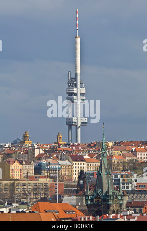 Compressed perspective view of The Žižkov Television Tower in Prague. - Stock Photo