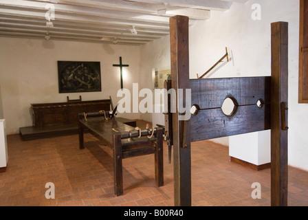 Instruments of torture in the Palacio de la Inquisicion, Cartagena, Colombia - Stock Photo