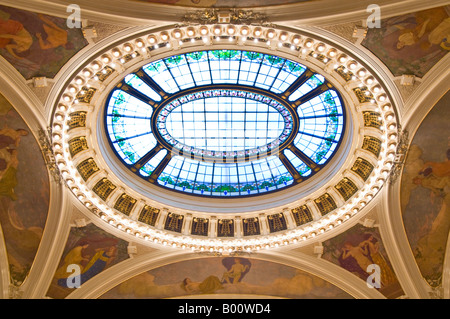 A close up view of the main circular 'window' in the roof of the Smetana Concert Hall in the Municipal House of - Stock Photo