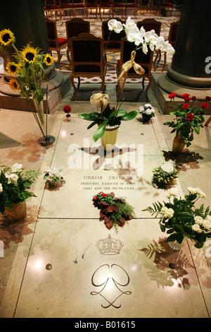 The grave of Grace Kelly ( Princess Grace of Monaco ); St. Nicholas Cathedral, Monte Carlo, Monaco - Stock Photo
