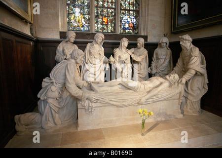 Mise au tombeau du Christ sculpture in St Etienne du Mont church Latin Quarter Paris France - Stock Photo