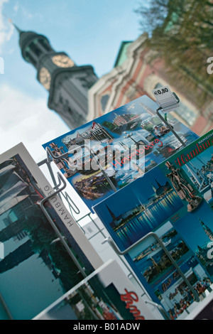 Hamburg Germany Rack with postcards in front of the Saint Michaelis Cathedral - Stock Photo