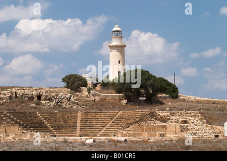 Paphos Archaeological Park Lighthouse and Ancient Odeon, Kato Paphos, Cyprus - Stock Photo