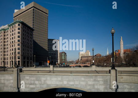 Photo of Providence city scene with 2 bridges and a crisp blue sky. - Stock Photo