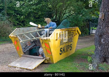 Rubbish skip. Huntingdon. Cambs.UK - Stock Photo