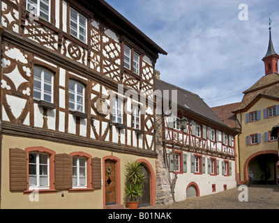 marketplace with old half timbered houses and town gate in the old town of Burkheim Kaiserstuhl Baden Württemberg - Stock Photo