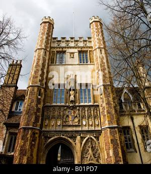 Main gate of Trinity College, Cambridge University, Cambridge, Cambridgeshire, England, UK - Stock Photo