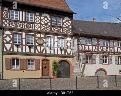 marketplace with old half timbered houses in the old town of Burkheim Kaiserstuhl Baden Württemberg Baden Wuerttemberg - Stock Photo
