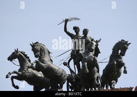 Bronze statue of horses Teatro Politeama Garibaldi Square Palermo Sicily Italy - Stock Photo