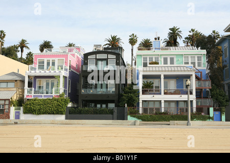 Beach houses along the sea front Santa Monica Los Angeles California USA - Stock Photo