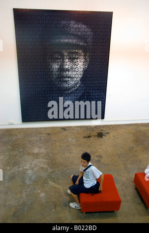 Beijing, CHINA, Chinese Contemporary Art on Display in '798 Art Factory' 'Red Army Soldier' Portrait Painting on - Stock Photo